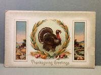 Thanksgiving Greetings Turkey Corn Wreath Antique Vintage Postcard Unposted