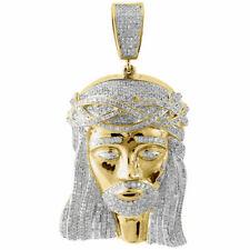 """Genuine Pave Diamond Jesus Piece Charm 10K Yellow Gold 2.50"""" Pendant 2.55 Ct."""