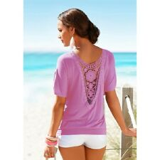 UK Womens Loose T Shirt Short Sleeve Blouse Ladies Casual Summer Tops Plus Size Purple XXXXXS