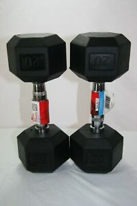 NEW! Weider 20LB Dumbbells Set of 2 - 40lbs Total, Rubber Coated Hex Free Ship!!