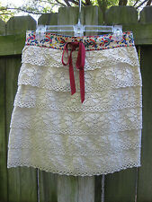 Anthropologie Anna Sui Embroidered Lace Skirt Sz M Euc