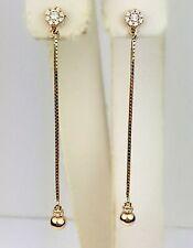 18K 2-Tone Rose Gold Natural Diamond Straight Drop Dangle Ball Earrings