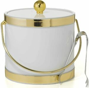 Hand Made In USA White With Dual Gold Bands Double Walled 3-Quart Ice Bucket