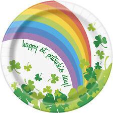 8 X Rainbow Shamrock St Patrick's Day Paper Plates 18cm Irish Party Tableware