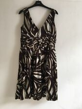 BNWT M&S 'Autograph' 100% Silk Dress Brown & Cream Size 10 RRP £69.00