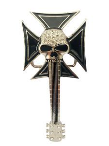 Belt Buckle Skull Guitar with Iron Cross and Diamante inlay Biker Silver Black