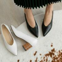 Womens Ladies Fashion Leather Pointed Toe V Cut Block Heel Court Shoes Pumps US
