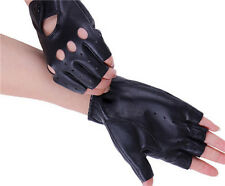 Women's Leather Gloves Half Finger Fingerless Dance Stage Sports Cycling Driving