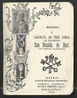 librito novena antigua a San Nicolas de Bari santino holy card estampa