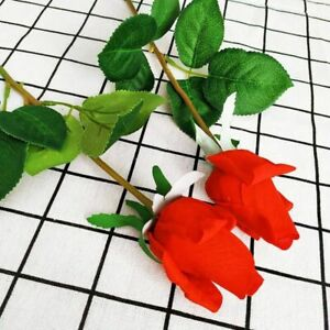 Rose Flowers Wedding Artificial Silicone Real Touch Branches Stem Latex 7 Pieces
