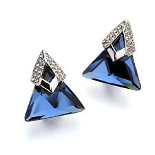 Geometric Blue Triangle Stud Earrings Pave border Made with Swarovski Elements