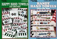 ✔️ 2 Cross Stitch Leaflets HAPPY Hand Towels Christmas & HANDY Hand Towels Year