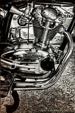 12x18 in Poster Vintage Ducati Motorcycle, Garage Art Man Cave Black and White