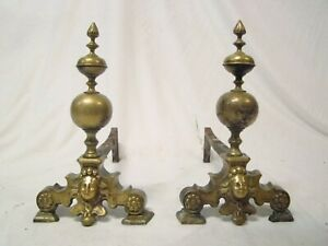 Pair Important Antique Bronze Dutch Fireplace Chenets Andirons Early 17th. C.