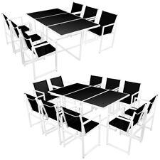 vidaXL Juego de Comedor de Jardín de Aluminio Negro Blanco 6 Sillas/10 Sillas