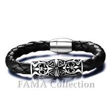 Unique Fama Black Leather Bracelet with 316L Steel Fleur De Lis & Celtic Cross