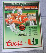 Rare ERROR 1984 MIAMI HURRICANES Schedule FOOTBALL POSTER Howard Schnellenberger