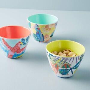 Anthropologie Tropical Melamine Small Nut Bowls (Set Of 3) Very Rare!