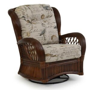 "Indoor Rattan Highback Swivel Glider Chair 40""w x 37""d x 40""h by American Rattan"