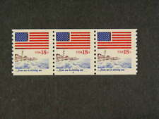 United States Sc# 1891 Coil Strip of 3 P#4 Flag 20c Stamps Mnh s956