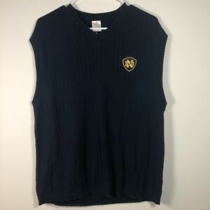 Notre Dame Fighting Irish Adidas Mens Sweater Vest Blue Ribbed Pullover L