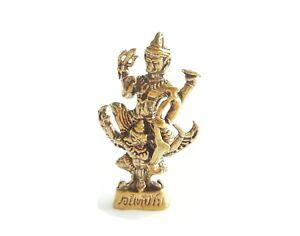 Gold Hinduism Goddess Vishnu Statue Narai Base Ride Garuda King Bird Brass Mini