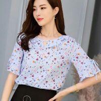 Loose Fashion Women Shirt Short Sleeve Top Chiffon Ladies Summer Blouse T-Shirt