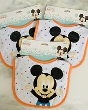💛NWT Disney Baby Mickey Mouse Baby Bib 3pc Multi color Boys-girls +0 Months