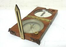 ANTIQUE XIX FRENCH MARITIME WOOD HAND SIGHTING COMPASS CLINOMETER RULE SURVEYOR