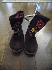 Baby Gap Toddler Girls Brown embroidered Flower Suede Boots Zip toddler sz 6