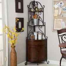 Corner Bakers Rack Wrought Iron Frame Kitchen Storage Cabinet Drawer Shelves