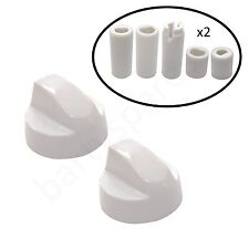 Two UNIVERSAL Cooker Oven Hob White Control Knob & Ten Adapters