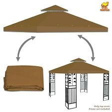 10'x10' Gazebo Top Canopy Replacement Patio Outdoor Sunshade Cover 2 Tier Brown