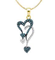 Blue & White Diamond Heart Pendant 10K Yellow Gold Dual Hearts .20ct