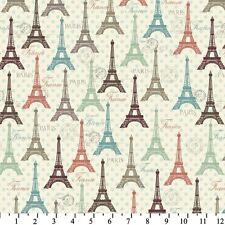 Fabric Eiffel Tower Spring Colors on Mint Green Cotton 1/4 yard BIN