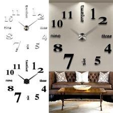 3D DIY Extra Large Numerals Luxury Mirror Wall Sticker Clock Home Decor UK