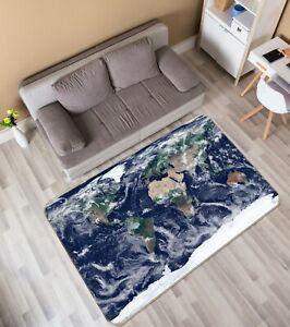3D Atmospheric Clouds R59 World Map Non Slip Rug Mat Elegant Photo Carpet Kay