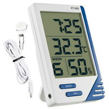 DIGITAL LCD THERMOMETER HYGROMETER HYDROPONICS GROW TENT/ROOM FAN THERMOMETER