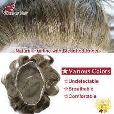 Full French Lace Mens Toupee All Lace Hairpiece Natural Hair System Replacements