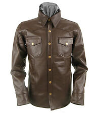 XL SIZE MENS BROWN LEATHER SHIRT CASUAL FASHION WESTERN STYLE