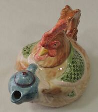 Fitz & Floyd FF 1987 42 Ounce Chicken Teapot Bacon & Eggs Hen Serving Tea EUC
