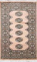 Traditional Hand Knotted Modern Bokhara Area Rug Pink/Black Turkish Rugs (2.5x4)