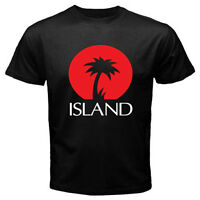 New ISLAND RECORDS Palm Logo Men's Black T-Shirt Size S-3XL