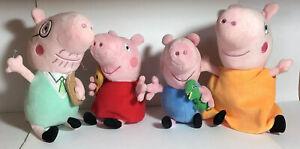 "Peppa Pig Family Soft Stuffed Plush Dolls (2 TY) - 7-9.5"" - Set of 4"