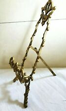 "VTG Ornate Solid Brass Easel Stand Table Top Picture Book Holder 11"" Tall"