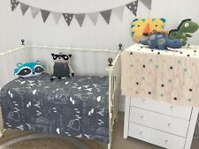 Baby Boys Nursery Cot Quilt Padded Coverlet / Play Mat In The Woods