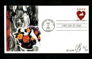 US FDC #2814 William II Cachet 8A/33 Love Dove roses 2/14/1994