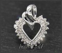 Diamant Anhänger in Herz Form, 0,30ct aus 585 Gold, 14 Karat Weißgold, Neu