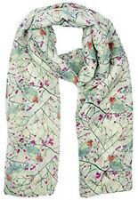Cream Robin Birds Print Ladies Fashion Maxi Scarf Wrap Sarong Soft Warm