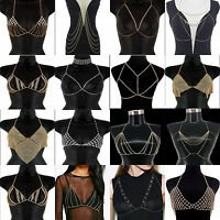 Fashion Gold/Silver Bikini Crossover Waist Belly Harness Body Chain Necklace NEW